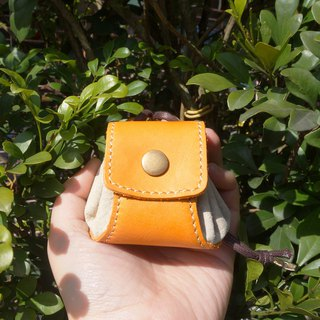 Dumplings - leather purse / small bag / jewelry bag - orange