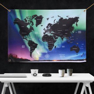 Customized World Map Mysterious Aurora