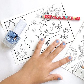 British [Miss Nella] children's water-based tear-proof safety nail polish - bells blue (MN12)