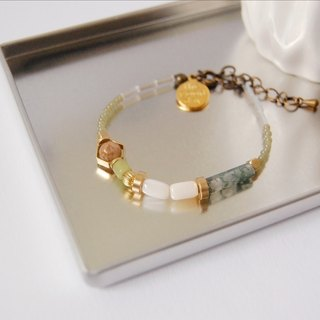 日和 the good day|Green Pearl Brass Crystal Gemstone Bracelet