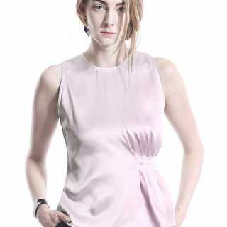 Modern Rose Quartz Asymmetric Pleated  Triacetate Tank Top