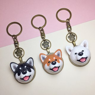 Q version of Shiba Inu key ring on the back of the dog head free printing / provide Chinese / English / number