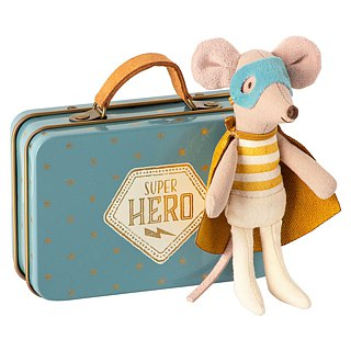 Super Hero Mouse In travel Suitcase