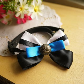 Low-key luxury. Turkey Blue Butterfly knot ribbons ︱ safe hands to do cats and dogs pet collar / collar / hair accessories cherry pudding Cherry Pudding ♥ ♥