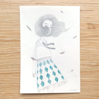 Lingge skirt girl | hand drawn illustration postcard