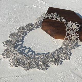 tatted lace necklace (grey color) / gift / Swarovski crystal pearl / customize