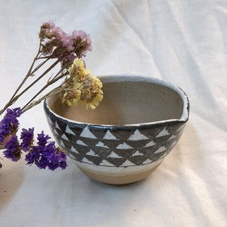 Ceramic bowl withe wooden handle