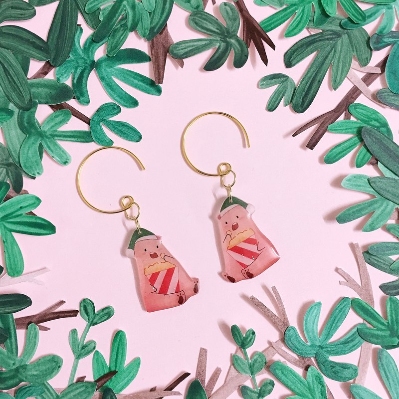 go to the movies, eat a pair of popcorn Bear Earrings