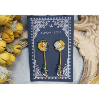 Sunshine yellow retro flowers earrings pure white ear earrings