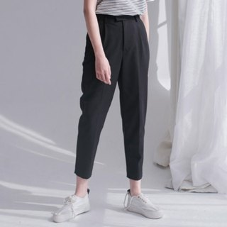 Black must enter the perfect version of the carrot pants tapered trousers vertical spring and summer profile suit pants Slim leg