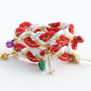 Christmas gift collection , Red/White/Gold double layered braided bracelet with charms