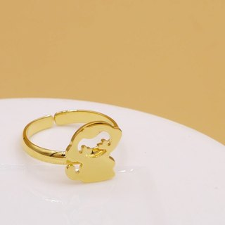 Handmade Little Monkey Ring - 18K gold plated on brass