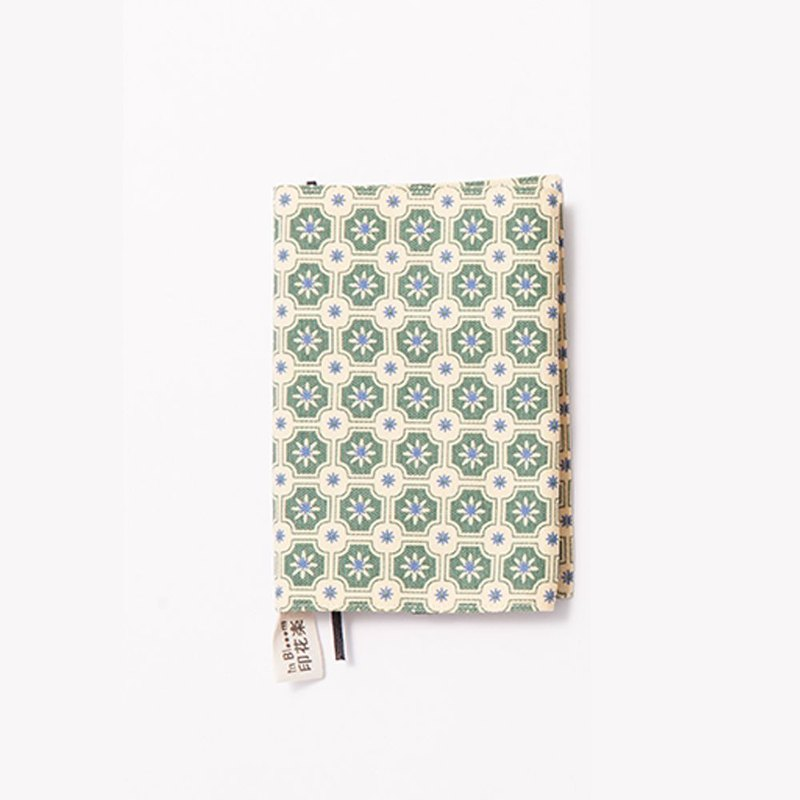Japanese Pocket Size Book Cover / Old Ceramic Tile No.2 / Yellow & Green