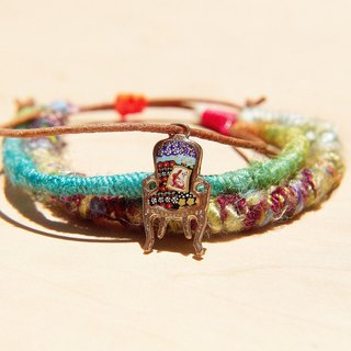 Valentine's Day gift genuine leather bracelet hand rope line sari bracelet - bright color colorful ornate chair (adjustable)