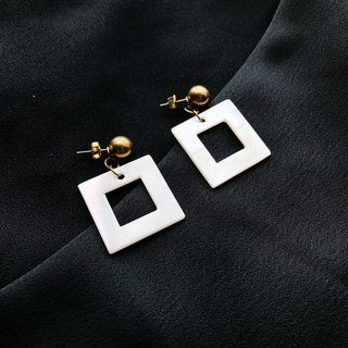 Brass and Square Shell Earrings