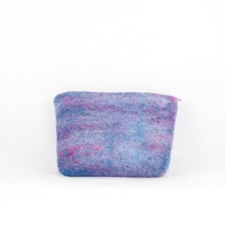 Hand-mixed wool felt wet felt zipper card bag purse / custom color series