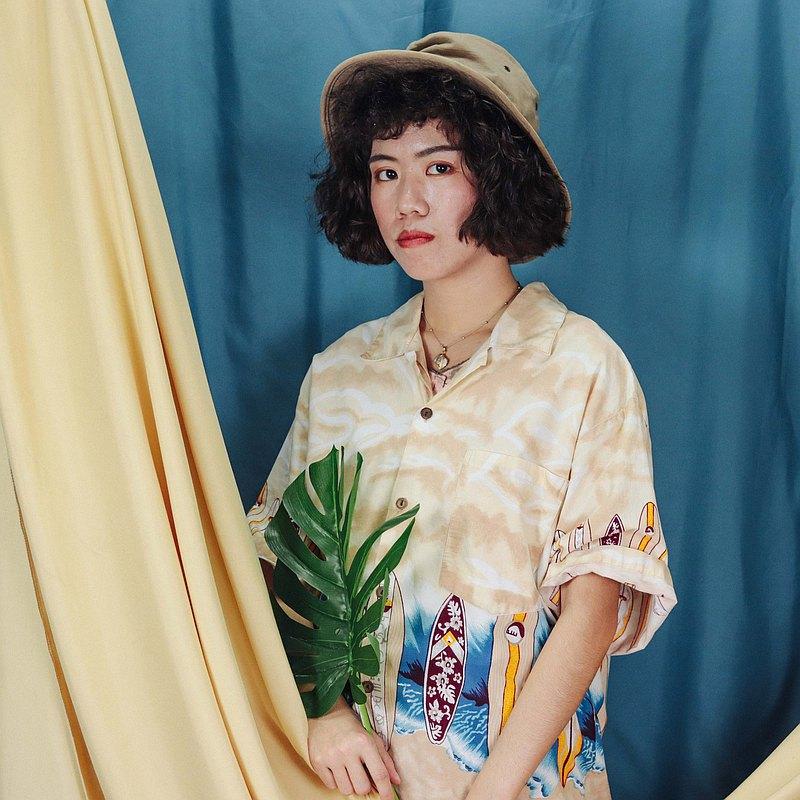 夏威夷衫009白沙灘的午後  , 花襯衫 印花 【Tsubasa.Y古著屋】