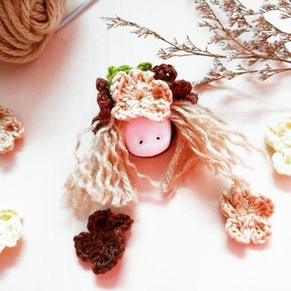 The ClayDoll With Flower Hat(Nut brown)brooch