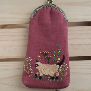 Multi-functional gold pen bag + glasses bag*Garden walk*