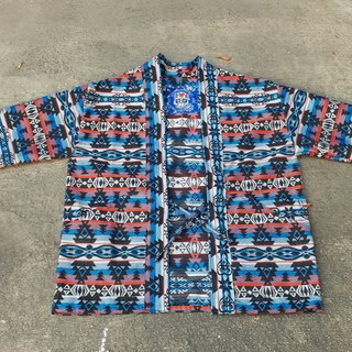 AMIN'S SHINY WORLD handmade KIMONO blue totem jacquard full version blouse coat