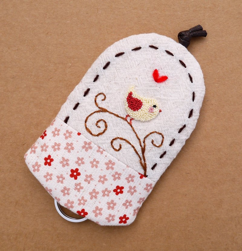 Safflower bird embroidery Wallets