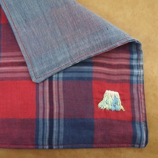 "Hand embroidered quadruple gauze handkerchief ""Mt.Fuji 4"""