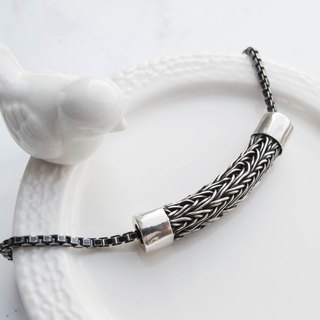 Big staff Taipa [manual silver] braided tube sterling silver bracelet - men's