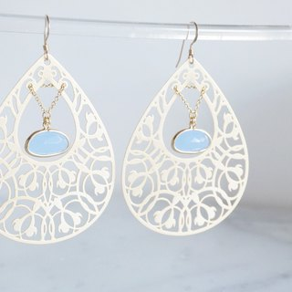 【14KGF】Earrings,Filigre Teardrop (Large)-Bohemian/Sky Blue-