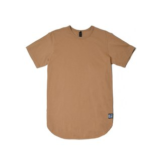 oqLiq - Arc Tee - Bone Brown Long Circular T (Khaki)