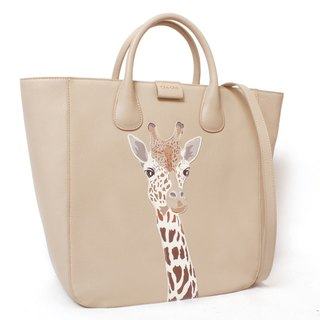 Fantasy World Giraffe Appliqué Leather Tote Bag