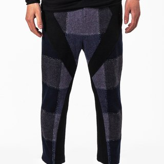 Collage black and blue plaid men's wool Nepalese 9 pants low crotch trousers straight jeans casual suit Lun (custom models)