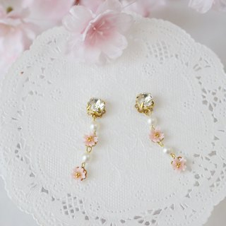 Swarovski and cherry blossoms and pearl earrings