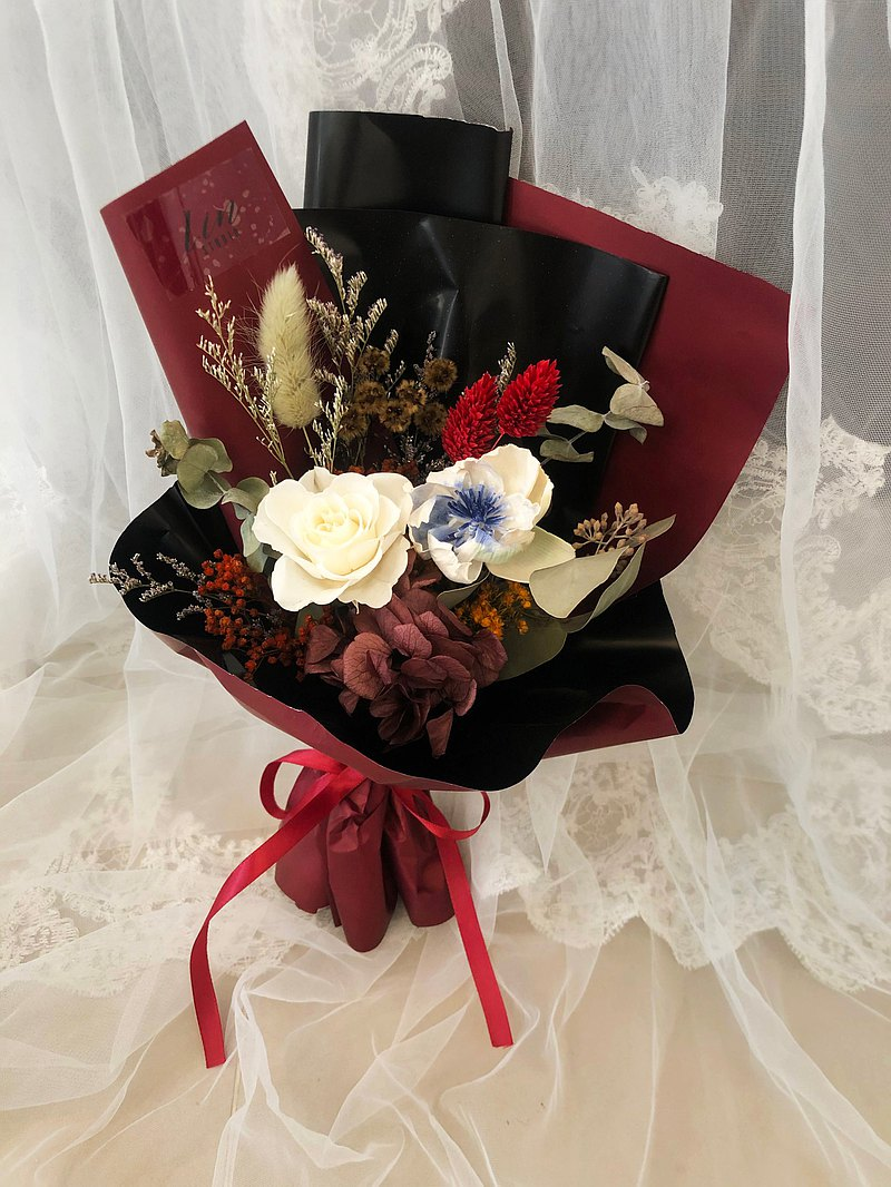 Lin 永生白玫瑰 母親節特輯/永生花束