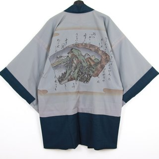 Back to Green Japan brought back a male feather knit hand-painted mountain vintage kimono