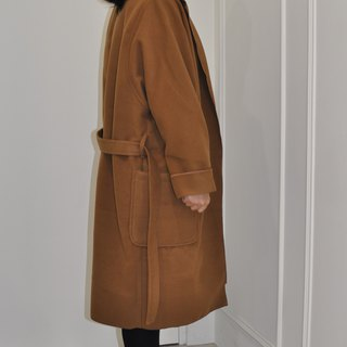 Flat 135 X Taiwan Designer 90% Wool Wool Cloth Camel Long Coat Jacket With Belt Large Pocket