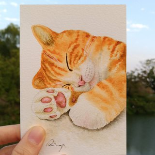 Orange Tabby Cat Watercolor Painting - Original