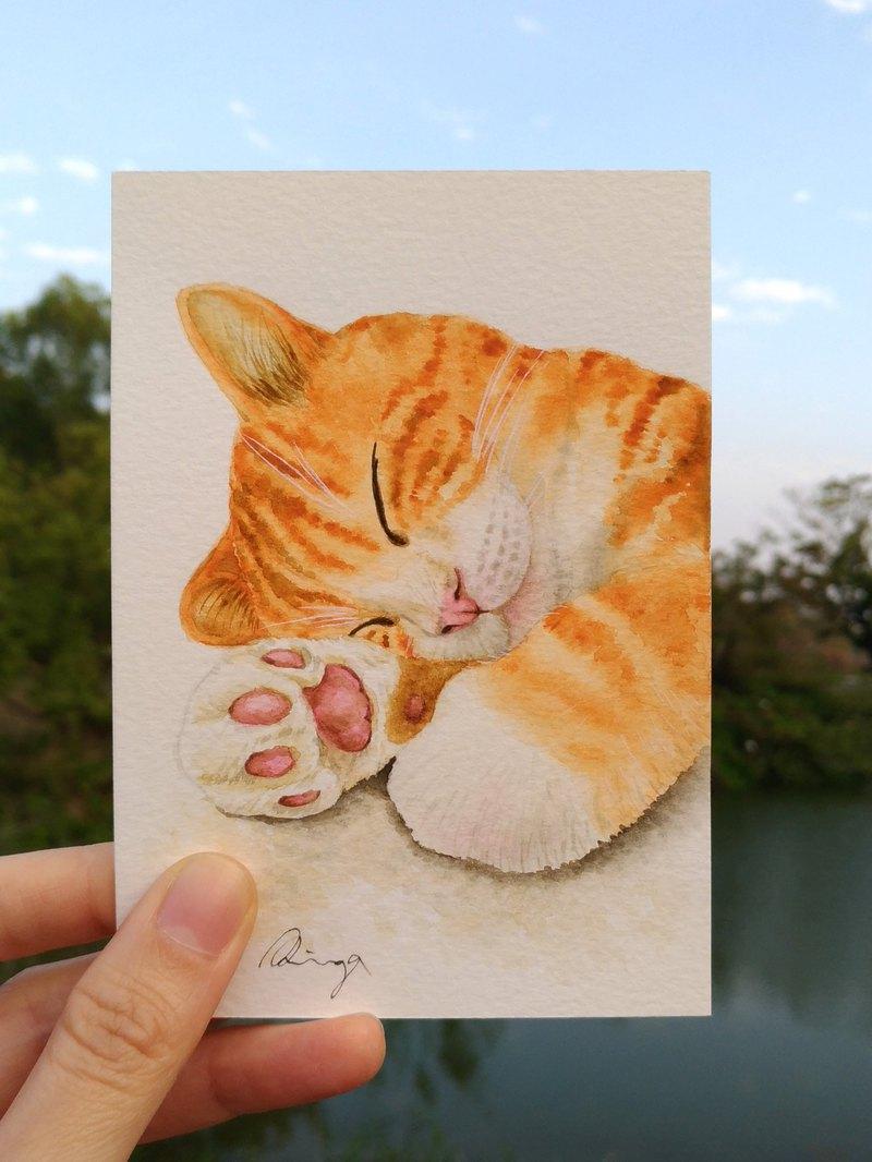 睡著的橘貓 虎斑貓 水彩畫  卡片 原畫