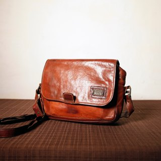 Shika Vintage Bag // Marco Polo caramel side backpack / antique bag old leather classic old only this one
