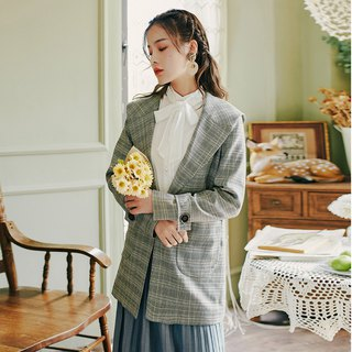 Early autumn wear new 2018 centuries retro fashion big lapel plaid jacket