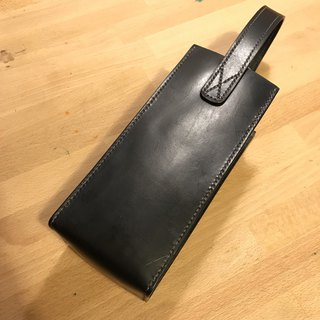 Handmade hand-dyed leather thermos OR wine bag