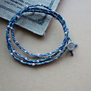 "~ Rice + Bear ~ ""Mysterious Sun"" Three Rings Bracelet Silver Silk Wax Braided Bracelet Fine Bracelet / 925 silver bracelet"