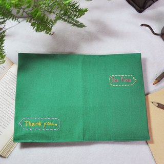 Hand-made book clothing notebook [quietly told her -I'm fine] Songhua green canvas section (A5)