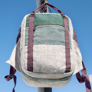 Cotton and linen stitching design backpack backpack national mountaineering bag handmade computer bag - forest wind green grass green