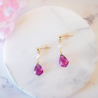 Anniewhere | Drops | Quartz Stone Single Bead Earrings (without ear cutouts)