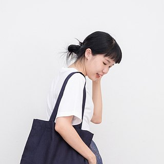 Navi Blue Linen Tote Bag
