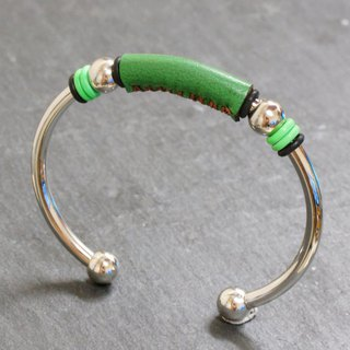 Green Leather 4mm Stainless Steel Bangle