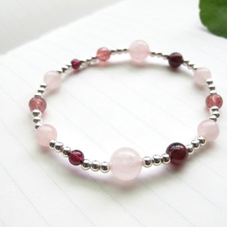 [Rock-Mars] Pink Crystal x Strawberry Crystal x Red Pomegranate x 925 Silver - Handmade Natural Stone Series