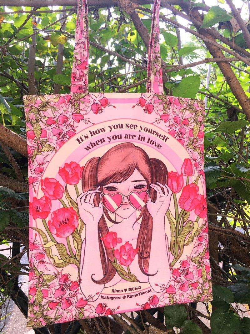 粉色鬱金香帆布手提包14x16英寸