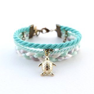 Turtle nautical layered bracelet in matte fresh mint / light mint / light gray