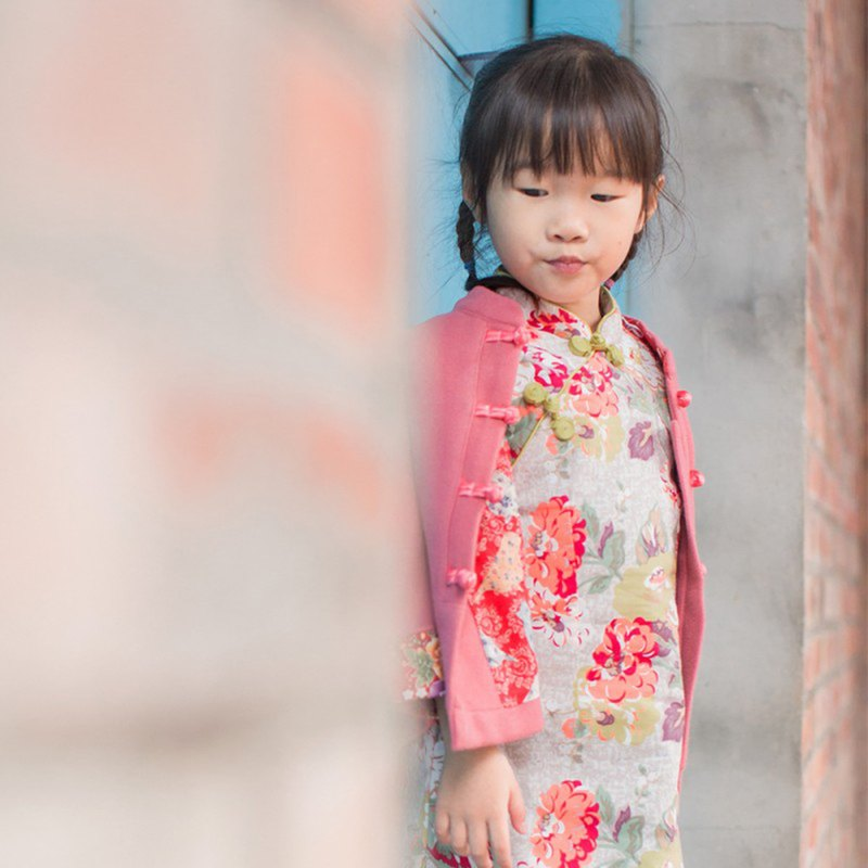 兒童旗袍 古風 冬季款 花系列牡丹(白色)
